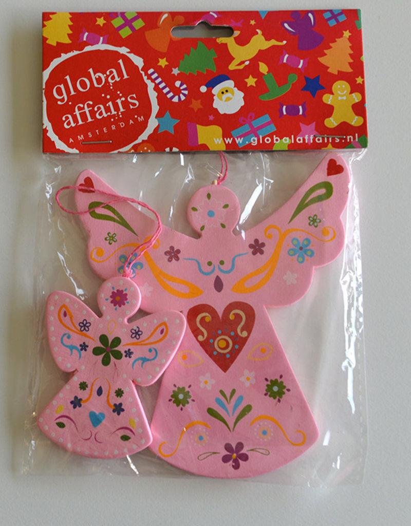 Global Affairs Global Affairs - houten hanger, engel, roze, 2 stuks