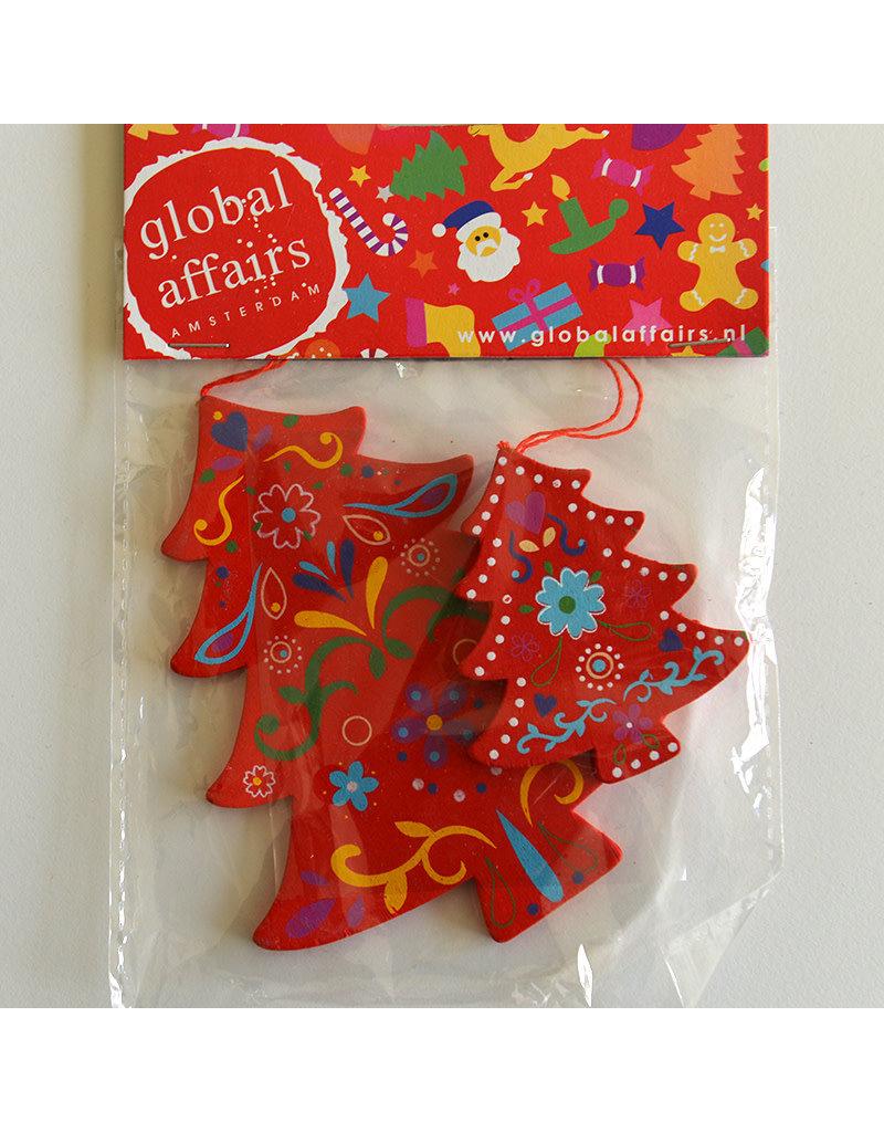 Global Affairs Global Affairs - houten hanger, kerstboom, rood, 2 stuks
