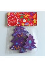 Global Affairs Global Affairs - houten hanger, kerstboom, paars, 2 stuks