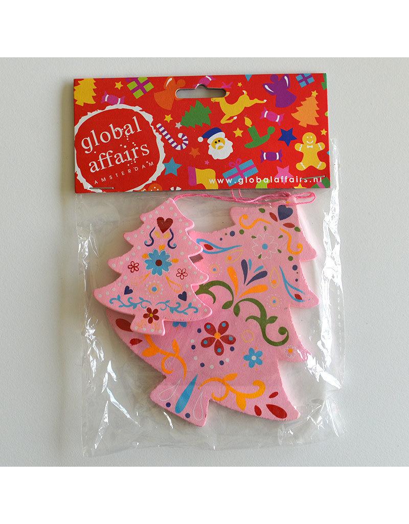 Global Affairs Global Affairs - houten hanger, kerstboom, roze, 2 stuks