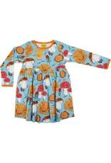 DUNS Sweden Duns Sweden - Long Sleeve Dress w gather skirt, Sunflower and Mushroom Sky Blue (3-16j)