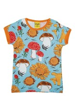 DUNS Sweden Duns Sweden Adult - Short Sleeve Top, Sunflowers and Mushrooms Sky Blue