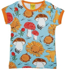 Duns Sweden T-shirt, Sunflowers and Mushrooms Sky Blue