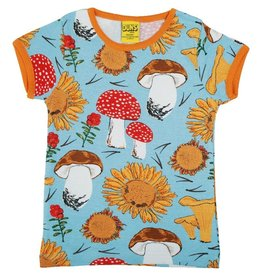 DUNS Sweden T-shirt, Sunflowers and Mushrooms Sky Blue