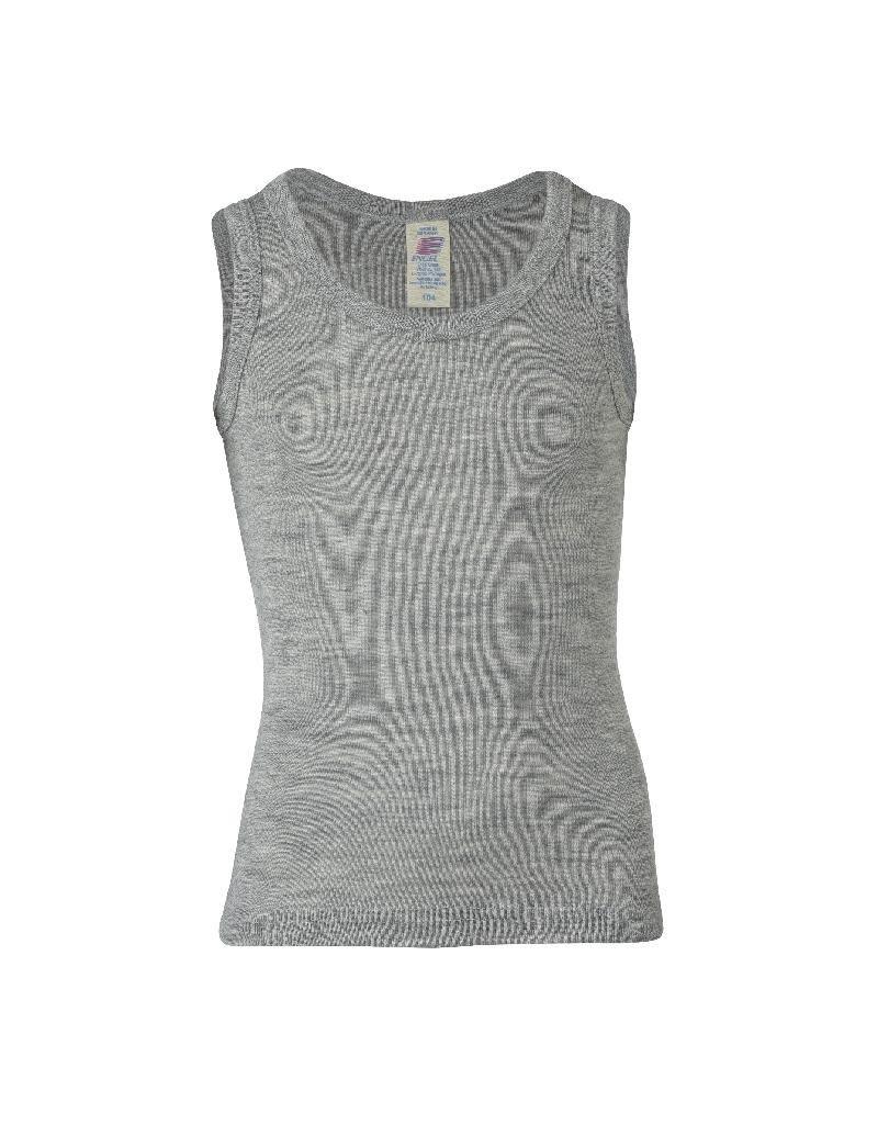 Engel Engel - onderhemd, sl, wol/zijde, lichtgrijs melange (3-16j)