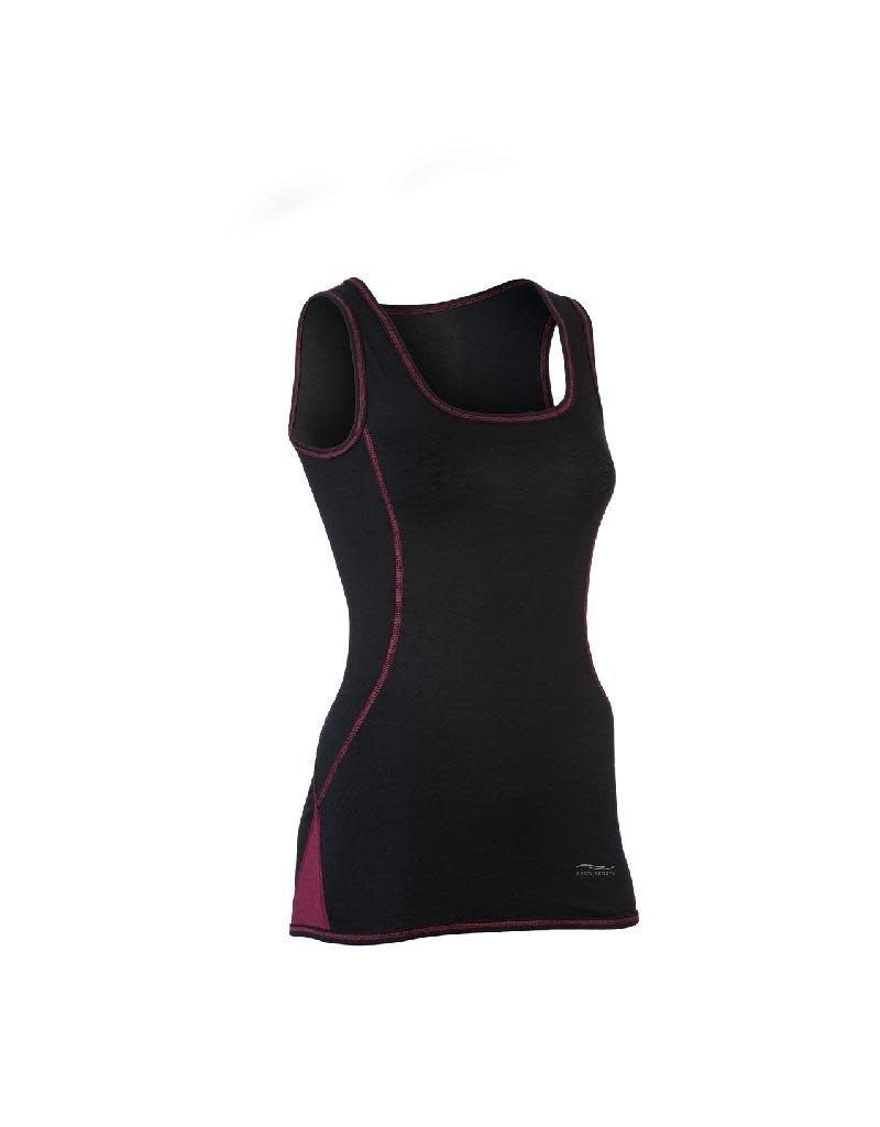 Engel Engel Woman Sports - top, slim fit, wol/zijde, zwart/tango rood