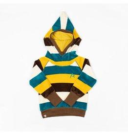 Alba of Denmark Habian hood blouse, turkish tile/love stripes (3-16j)