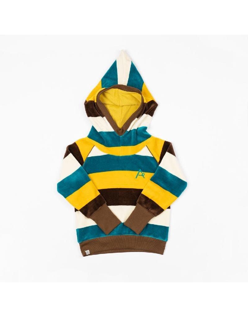Alba of Denmark Alba of Denmark - Habian hood blouse, turkish tile/love stripes (3-16j)