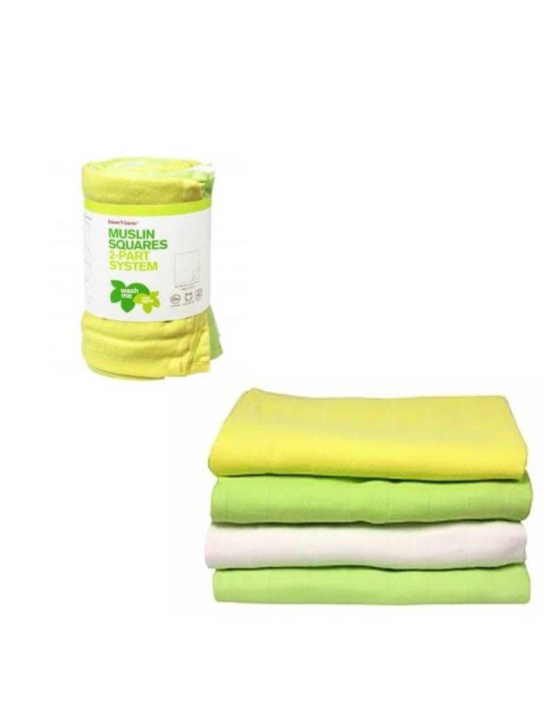 Imse Vimse Imse Vimse - tetradoek, groen-geel-wit, 80 x 80 cm, 4 stuks