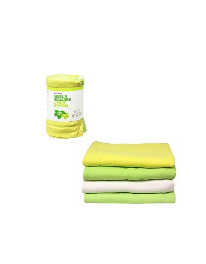 ImseVimse ImseVimse - tetradoek, groen-geel-wit, 80 x 80 cm, 4 stuks