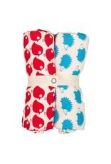 Loud+Proud Loud+Proud - tetradoeken, rode vogels + blauwe egels, 70 x 70cm