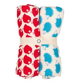 Loud+Proud Tetradoeken, rode vogels + blauwe egels