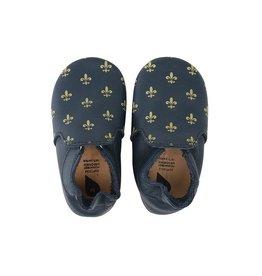 Bobux Soft sole, navy/gold fleur de lis