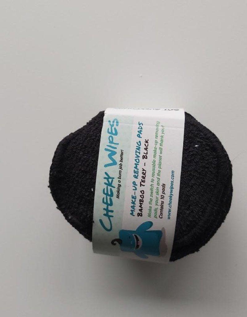 Cheeky Wipes Cheeky Wipes - Make-up removing pads, bamboo terry, zwart, 10 stuks