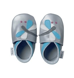 Bobux Soft sole, silver, dragonfly