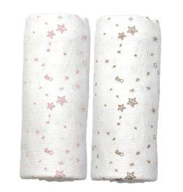 Hoppa Tetradoeken, roze/grijze sterretjes