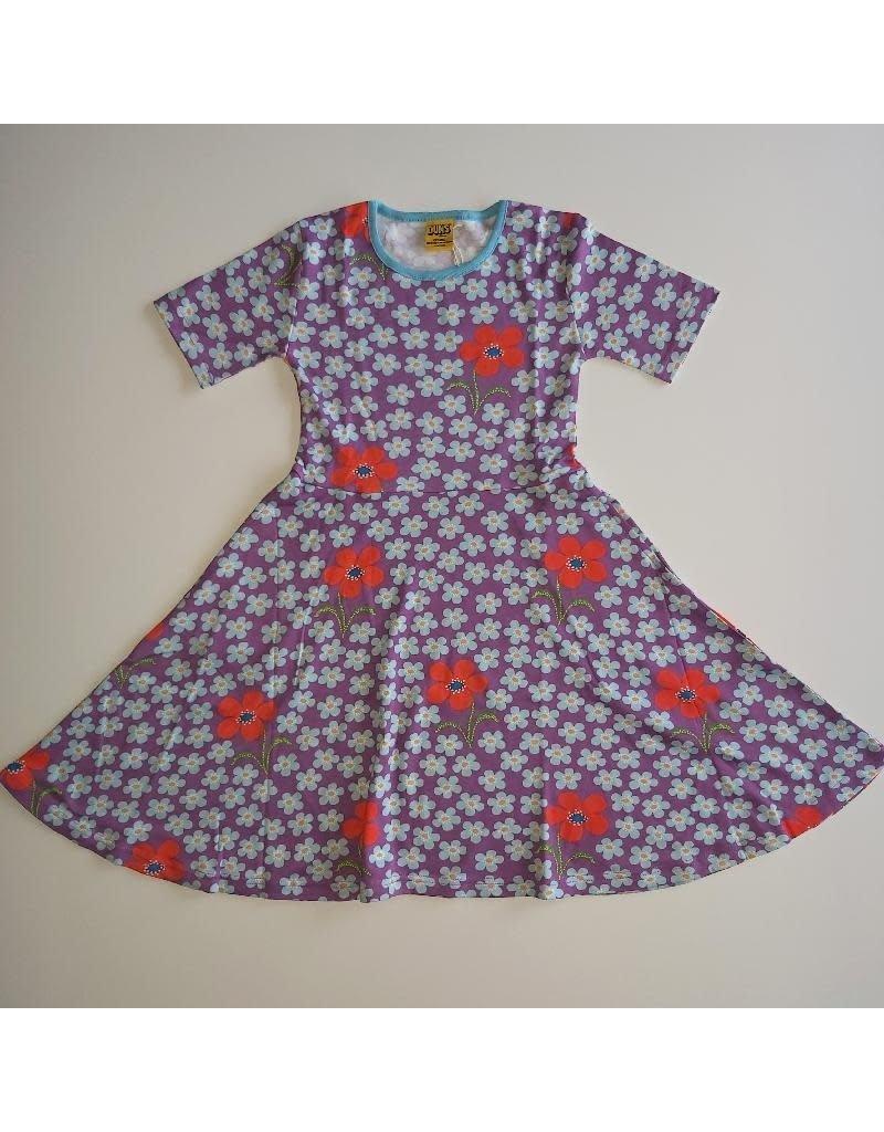 DUNS Sweden Duns Sweden - Skater Dress Short Sleeve, Flower Amethyst (3-16j)