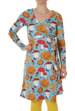 DUNS Sweden Duns Sweden Woman - Wrap Dress Long Sleeve, Sunflowers and Mushrooms Sky Blue