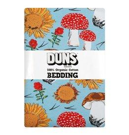 DUNS Sweden Donsdekenovertrek met kussensloop, Sunflowers and Mushrooms Sky Blue