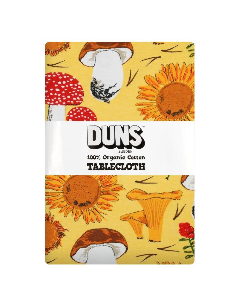 DUNS Sweden Duns Sweden - Tablecloth 220x140cm, Sunflowers and Mushrooms Sunshine Yellow
