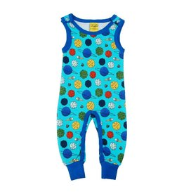 Duns Sweden Playsuit, Small Planets Blue Atoll (0-2j)