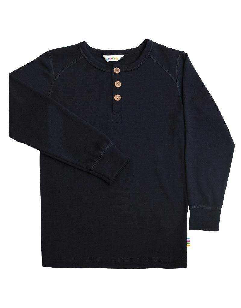 Joha Joha - shirt met knoopjes, wol, navy (3-16j)