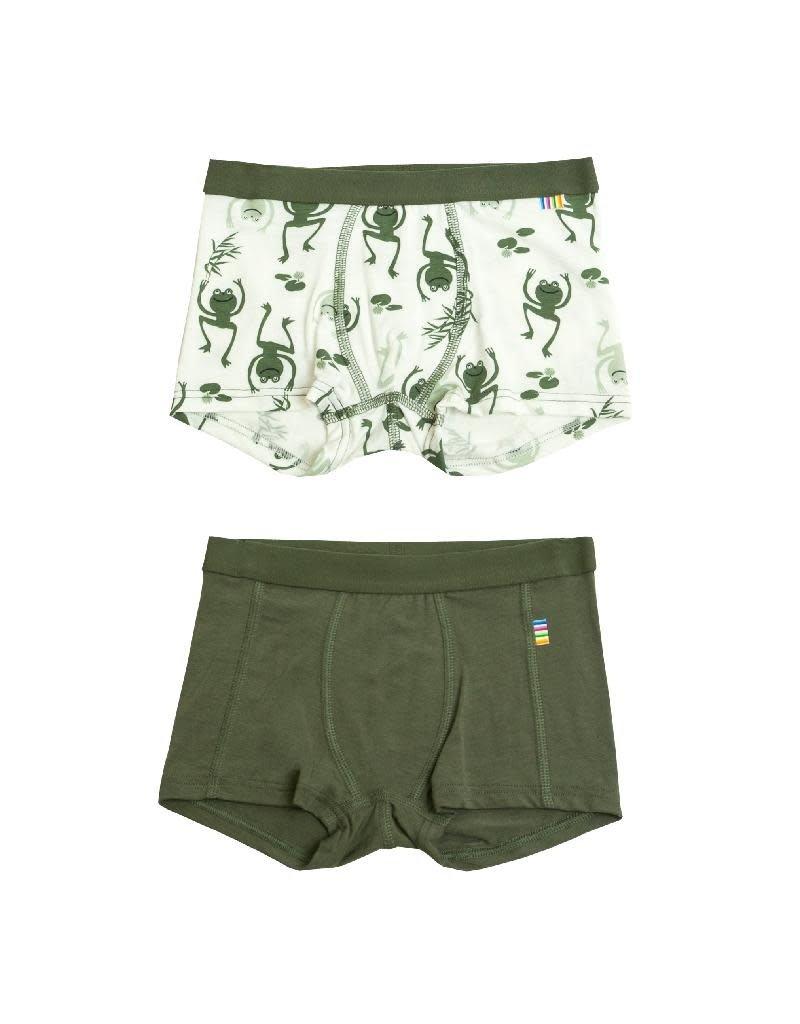 Joha Joha - Boxer shorts, bamboe, green, 2 pack (3-16j)