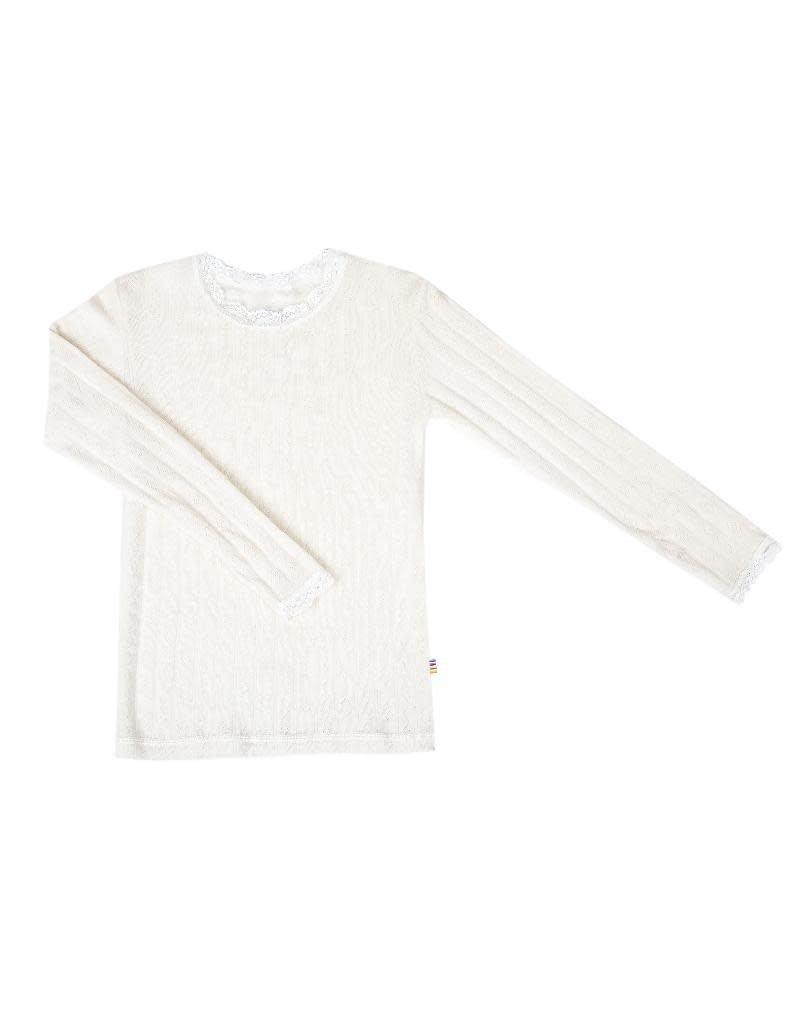 Joha Joha - shirt met kant, wol/zijde, natuur (3-16j)