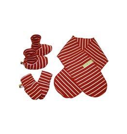 Loud+Proud Set want, slofje en sjaal, tomato gestreept (0-2j)