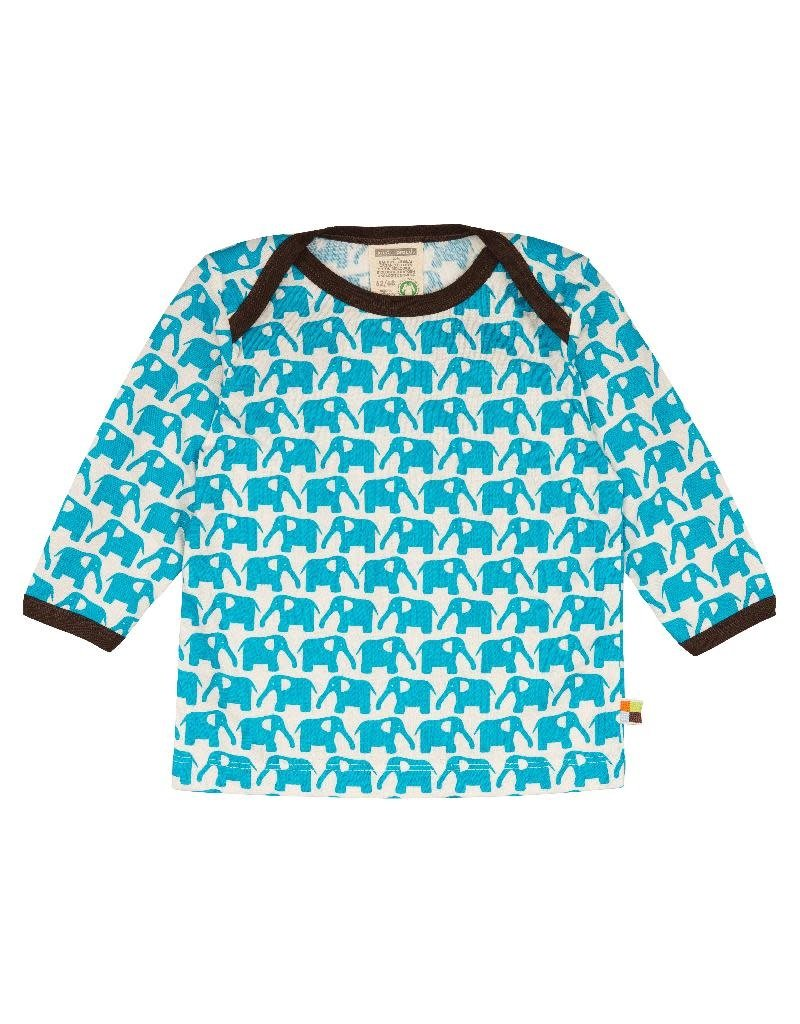 Loud+Proud Loud+Proud - shirt, aqua olifanten (0-2j)