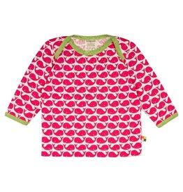 Loud+Proud Shirt, roze walvissen (0-2j)