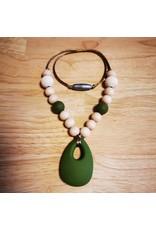 Groeien & Bloeien Groeien & Bloeien - borstvoedingsketting met donkergroene siliconen druppel en ronde kralen