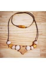 Groeien & Bloeien Groeien & Bloeien - borstvoedingsketting met houten ster en gouden silicone sterretjes