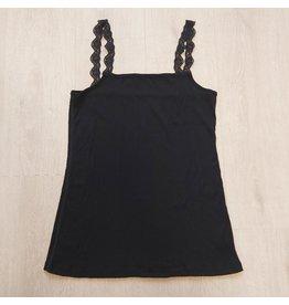 Joha Topje, wol/zijde, zwart
