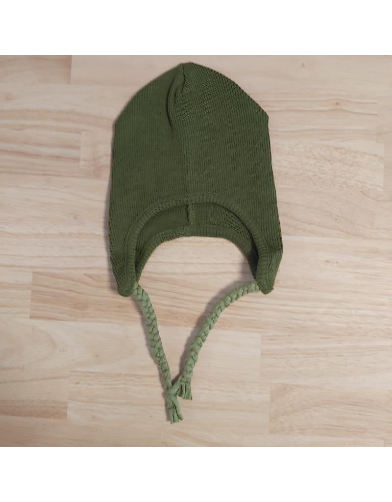 ManyMonths ManyMonths - earflap beanie, wol, garden moss green (0-2j)