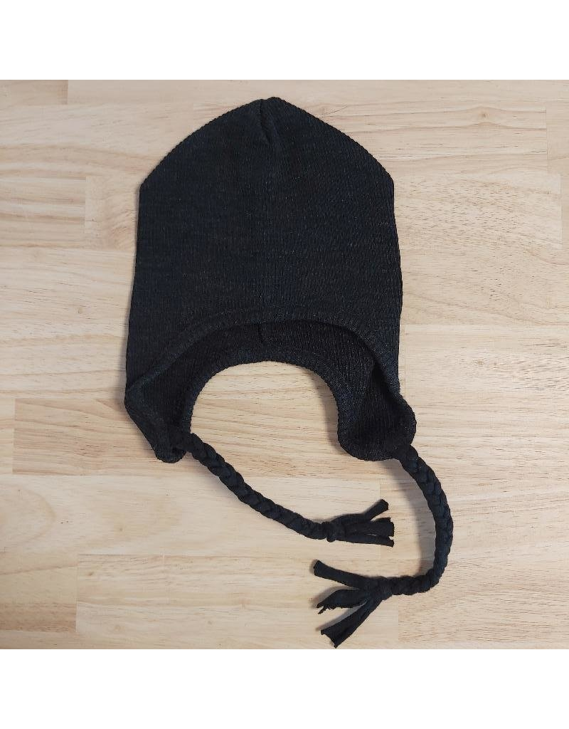 ManyMonths ManyMonths - earflap beanie, wol, foggy black (0-2j)