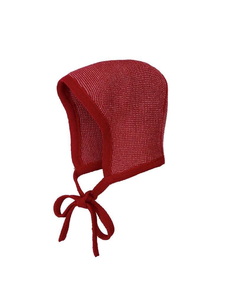 Disana Disana - Knitted bonnet, bordeaux/rose (0-2j)