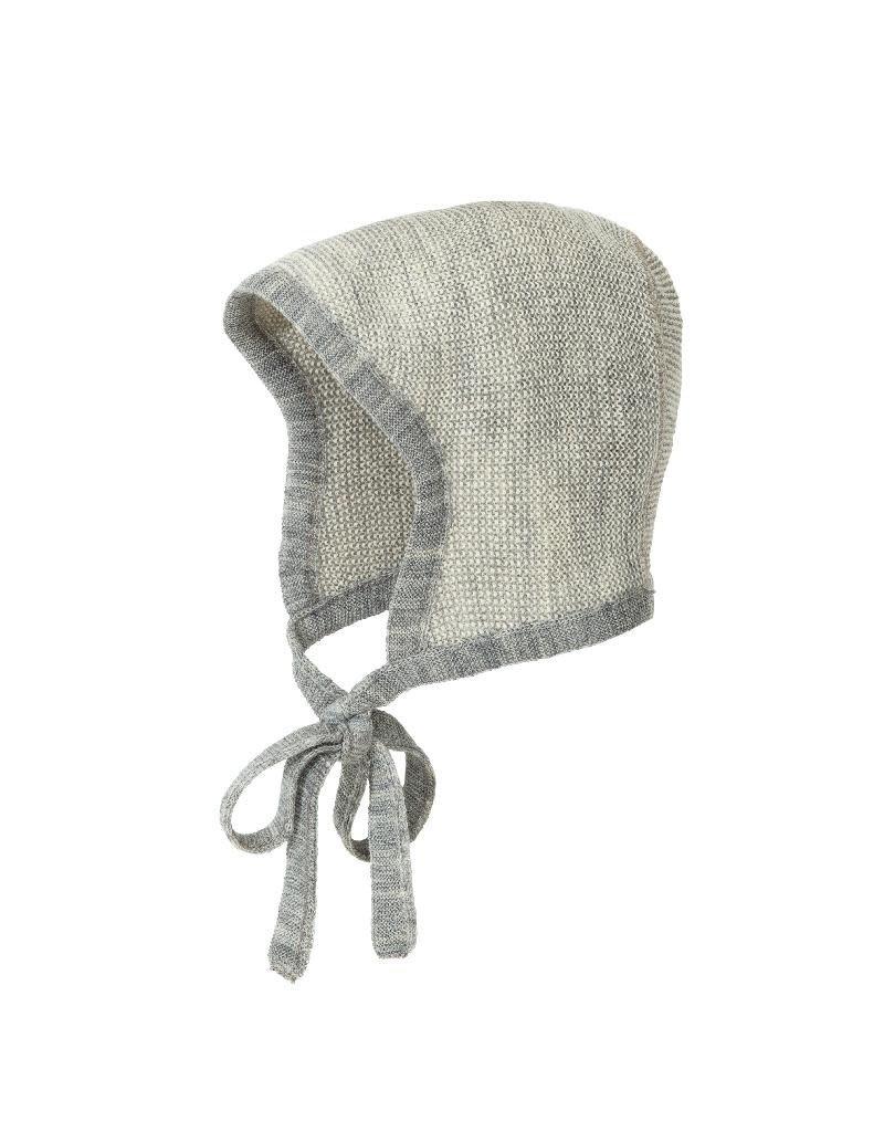 Disana Disana - Knitted bonnet, grey/nature (0-2j)