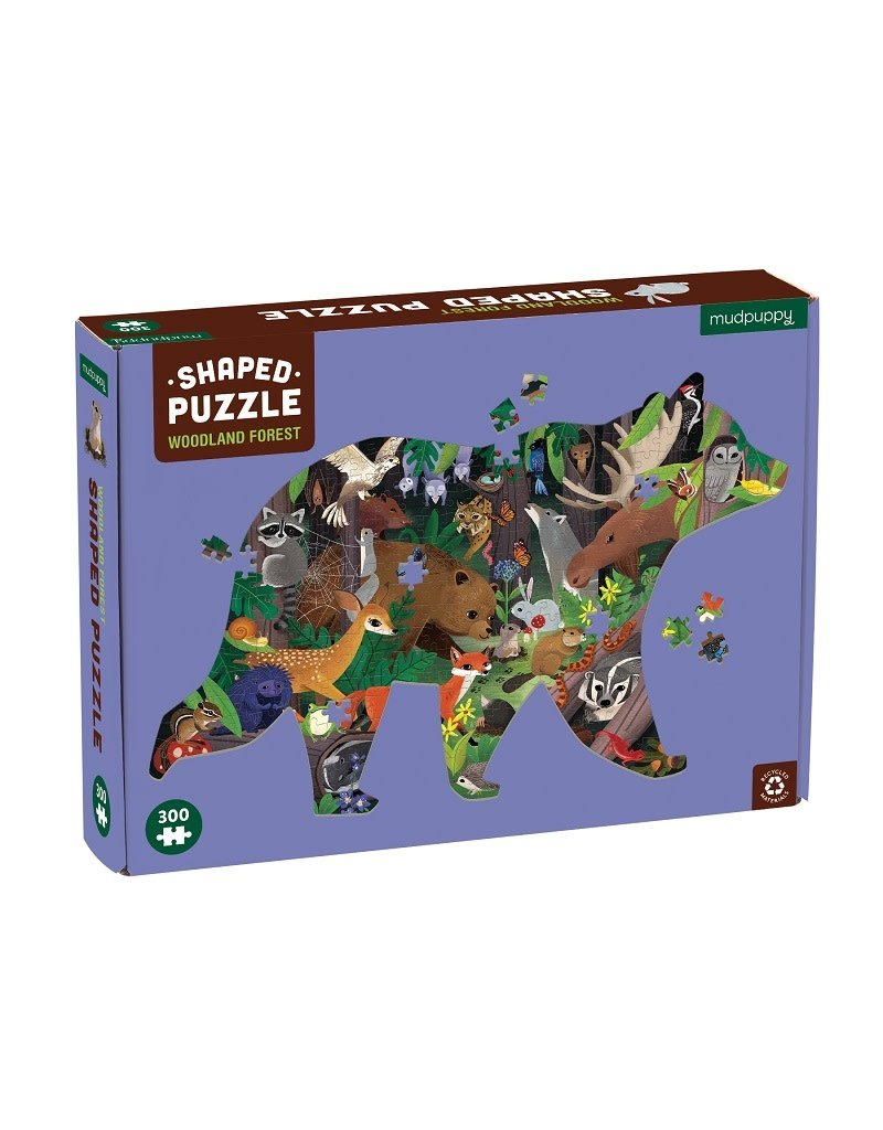 Mudpuppy Mudpuppy - Shaped puzzle, woodland forest