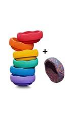 Stapelstein Stapelstein - Rainbow Basic + confetti, set van 7