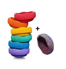 Stapelstein Rainbow Basic + confetti, set van 7
