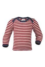 Engel Engel - Baby envelope-neck shirt, ls, wool, red melange/natural (0-2j)