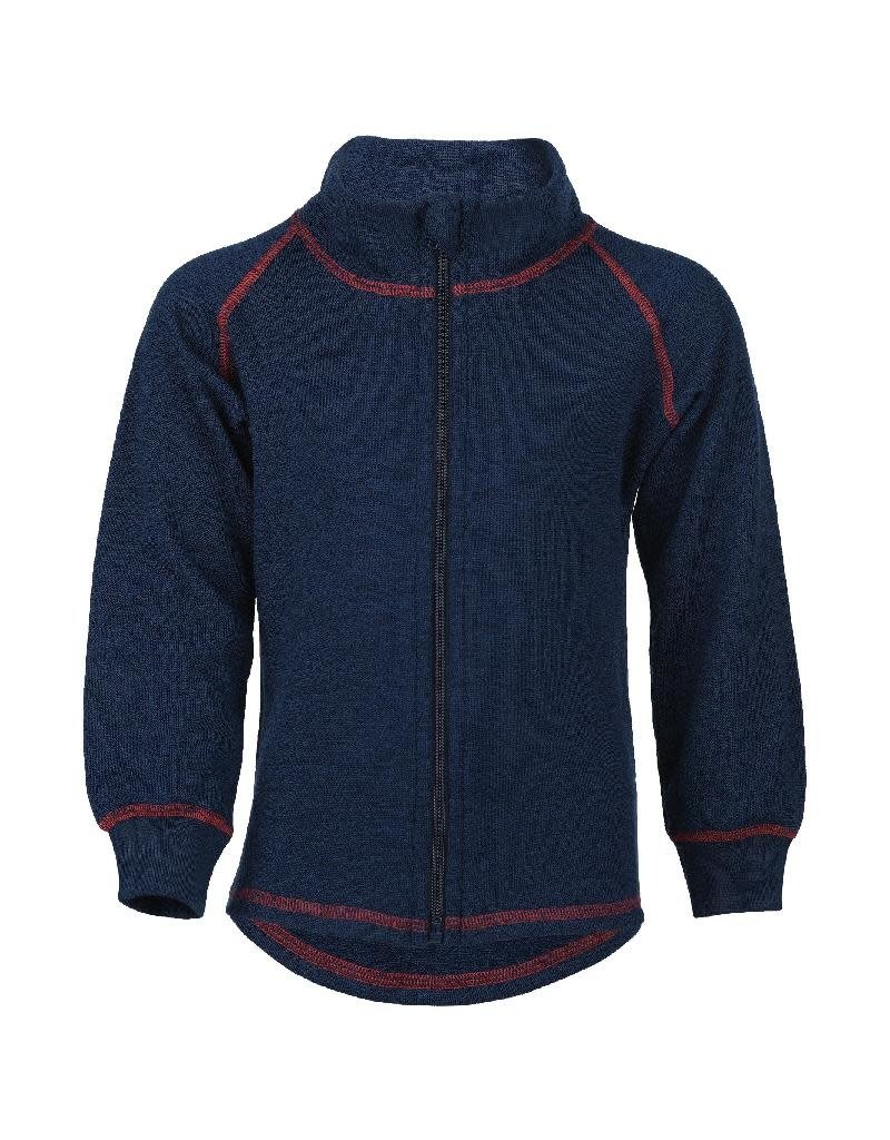 Engel Engel - Children's zip jacket with chin protection, wool, navy blue (3-16j)