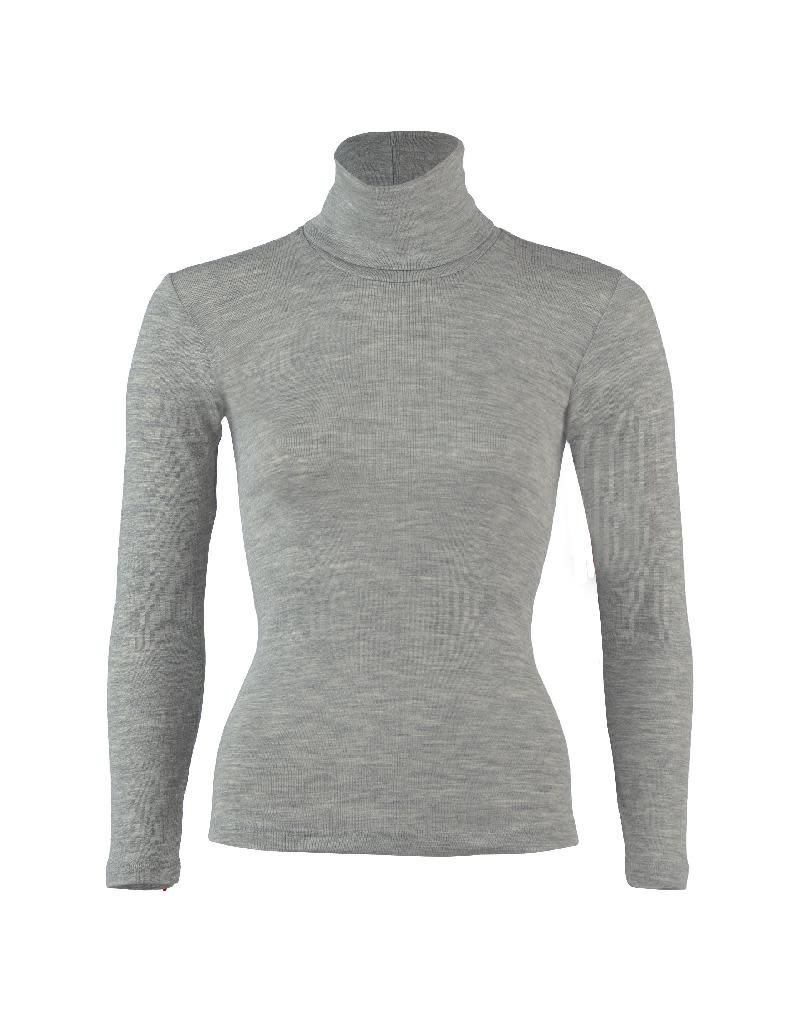 Engel Engel - Ladies polo neck, ls, wool/silk, light grey melange