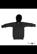 ManyMonths ManyMonths - Hooded Zip Cardigan with side pockets, Foggy Black (3-16j)