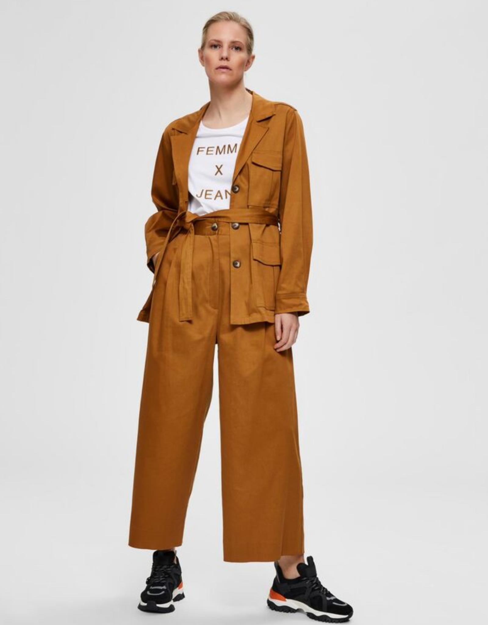 Selected Femme Milla Wide Pants brown