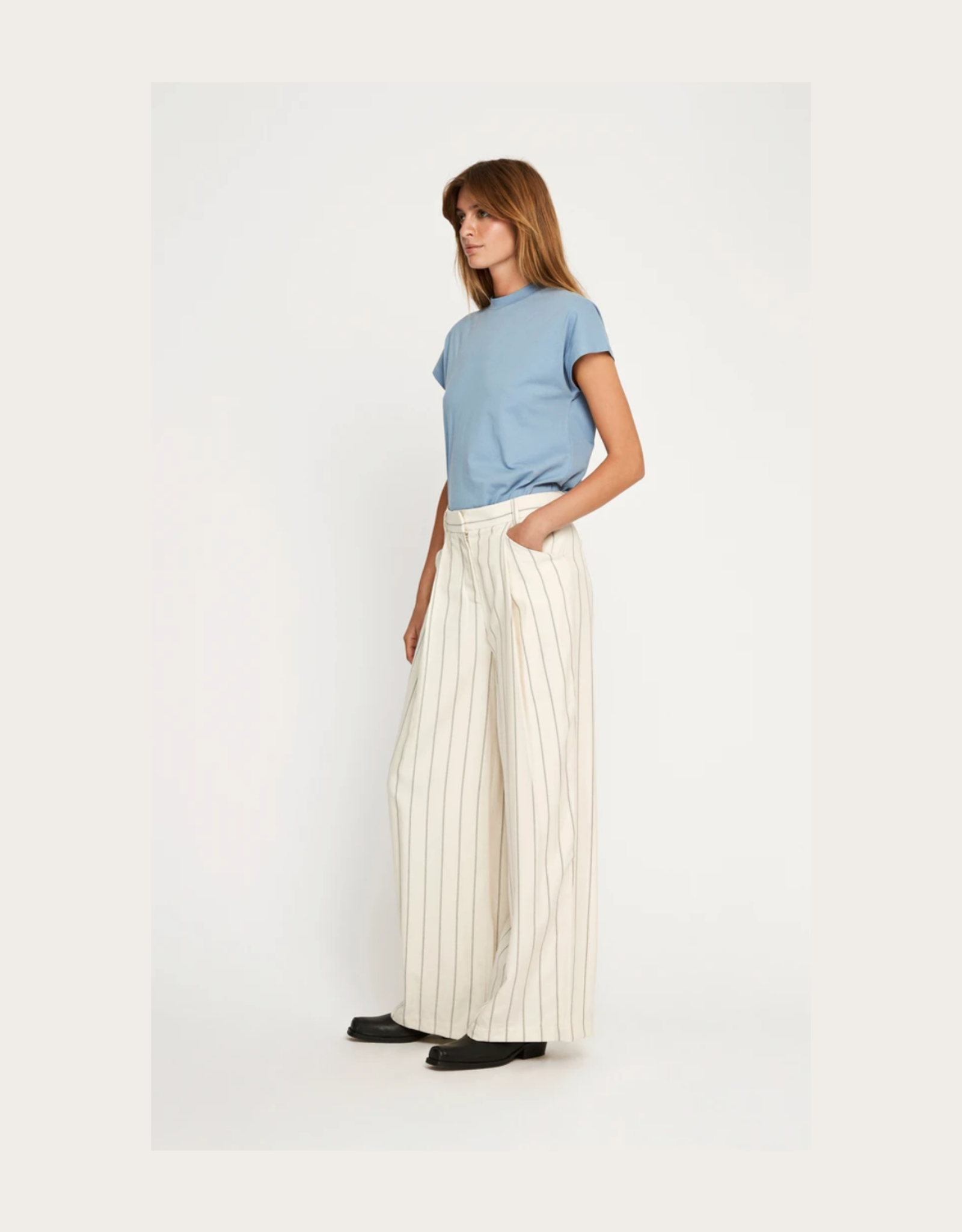 Won Hundred Mina pants white stripe