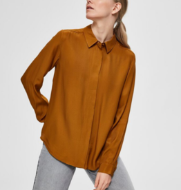 Selected Femme Arabella blouse brown/yellow