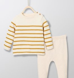 Cyrillus Ensemble Knit Set Beige/Yellow stripe