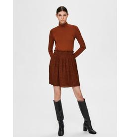 Selected Femme Kinsley Plisse Skirt Brick